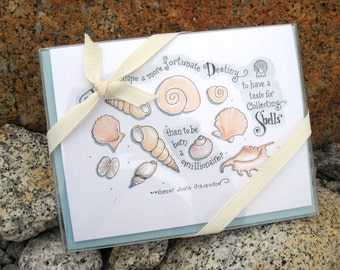 Seashore Note Cards. Gift Stationery. Inspirational Quotes. Beach Art