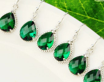 Emerald Green Earrings  SET OF 5 - 10% OFF Green Bridesmaid Earrings - Silver Emerald Green Glass Drop Earrings - Crystal Bridesmaid Jewelry
