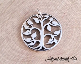 Tree of Life Pendant, Tree of Life Charm, Family Tree Pendant, Family Tree Charm, Sterling Silver Tree of Life, Medium Size, PS01103