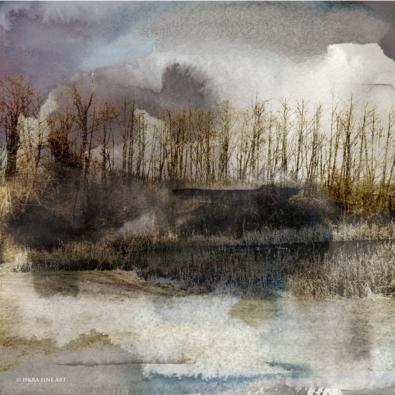 landscape,watercolor, mixed media,winter landscape, neutral colors,moody,browns, earth tones,wall art, art for interiors,winter sky,whidbey