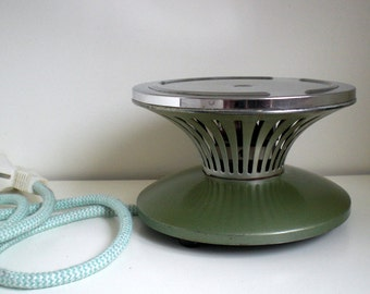 Vintage Electric Hotplate, Tealight, HT2, Inventum Green Metal, Made in Holland, 1940/50's Dutch Vintage