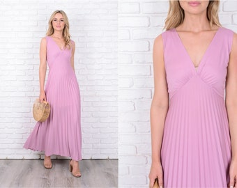 Vtg 70s Pink Maxi Dress Boho Plunging V neckline Sleeveless Accordion Pleated 11528