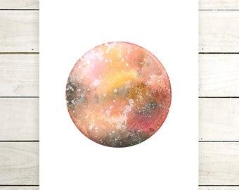 "Planet Watercolor Painting. ""Surya"" Fine Art Print. Galaxy. Decor. Giclée"