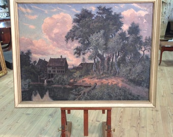 French oil on canvas painting depicting landscape