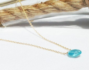 Swiss Blue Topaz Necklace - Simple Gemstone Necklace - Gold Blue Topaz Necklace - Blue Stone - 14k Gold Filled -  Dainty Necklace
