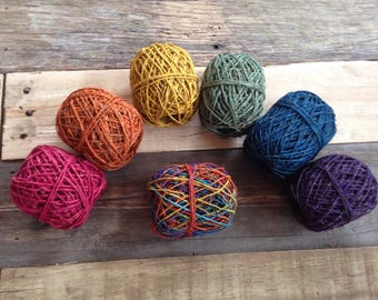 Rainbow collection of Hemp String Twine Yarn Fair Trade Ethical Waldorf Steiner