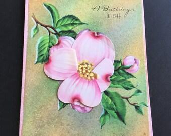 Vintage (Unused) Birthday Greeting Card, pink bloom, sparkles, by Rainbow Petals