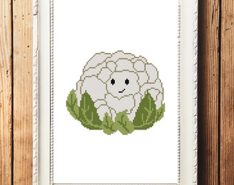 Happy Cauliflower Cross Stitch Pattern (Digital Download)