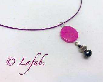 Necklace Choker black and Fuchsia Tagua