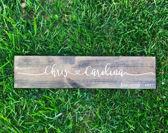 Anniversary Signs, Wedding Date, Couples Name Sign, Home Decor, Wooden Sign, Wedding Decor Names, Engagement Announcement, Est Sign,