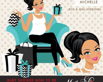 Brunette Pregnant Woman Character Design with gift boxes Clipart. Baby Shower Party Invitation Character. Teal Blue, Hot Pink, Black Chevron