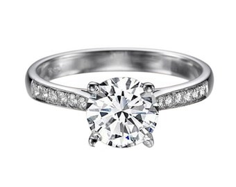 1.12ct White Sapphire and Diamonds Engagement Ring White Gold 14K Cathedral Round