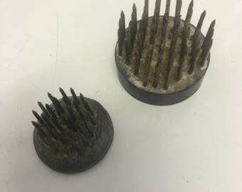 Flower arranging spikes ! Vintage lead and brass