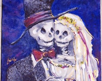Acrylic Painting, Skeleton wedding, Skeleton bride, October wedding, Day of the Dead Wedding, Giclee Print 5 x 7, Wedding gift