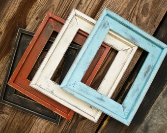 Farmhouse Distressed Frame, Rustic Picture Frame, Hand Painted, Stacked, Large Variety of Sizes Available, 4x6, 5x7, 8x10, 16x20, And More