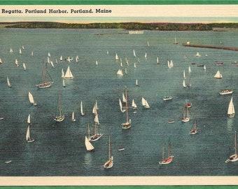 Linen Postcard - Yacht Regatta Held at Portland Harbor in Portland, Maine  (3380)