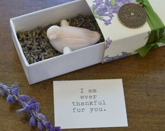 Mother's Day Message Box with Bird Scroll and Organic Lavender