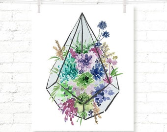 Terrarium - Blues - Succulent - Cactus - Watercolor - Art Print - Wall Art