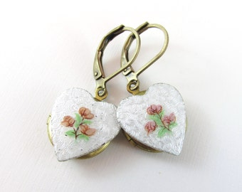 Enamelled Guilloche Heart on Vintage Brass Locket Earrings