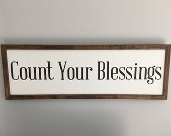 Count Your Blessings rustic wall hanging, inspirational sign