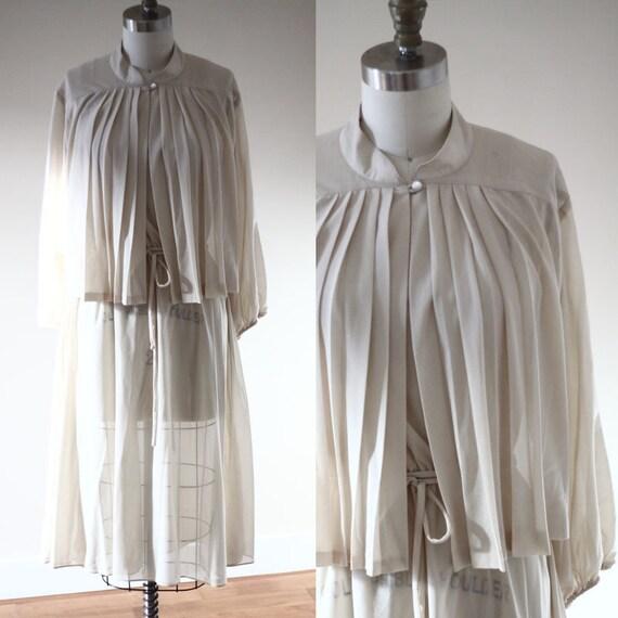 1970s tan dress // two piece dress // vintage dress