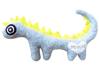 Dinosoaur, Yellow Grey Dinosaur, Dinosaur Softie, Plush Dinosaur, Dinosuar Plushie, Dragon, Dragon Soft Toy, Plush Dragon
