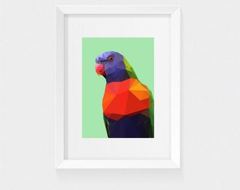 Geometric Lorikeet | Low Poly Australian Bird | PRINT