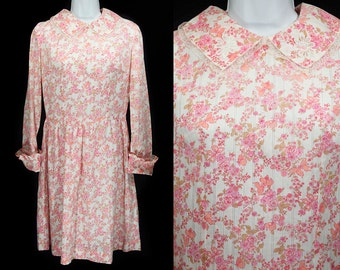 Vintage 60's Pink Flowers & Butterfly Design Dress M