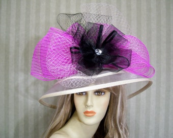 Kentucky Derby Hat, IvoRy and Hot PiNk Hat, Church Hat, Church Hill Downs Hat, Preakness Hat, Belmont Hat, Wedding Hat, Downton Abbey Hat