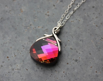 Volcano Swarovski crystal briolette necklace, sterling silver chain - hot magenta pink & purple color changing crystal - free shipping USA