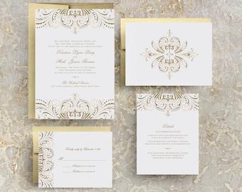 blush pink and gold wedding invitations, diy wedding invitation suite, great gatsby wedding invitation, rose gold wedding invitations