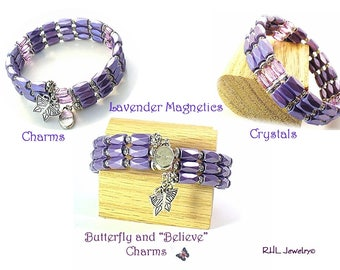 Lavender Magnetic Bracelet, Crystal Magnetic,  Butterfly, Believe, Memory Wire Bracelet  - MB2015-05