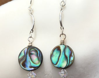 Paua Shell Earrings, Abalone Earrings, Sterling Drop Earrings