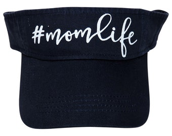 "NEW! White Glitter "" #momlife "" Navy Blue Cotton Visor"
