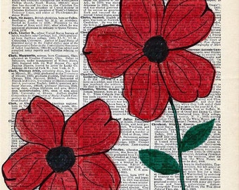 Hand Painted Artwork on Vintage Encyclopedia Page - Red Abstract Poppies - Unique Wall Decor