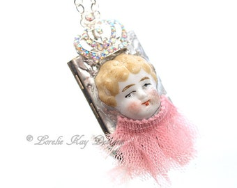 Little Princess Frozen Charlotte Cameo Locket Necklace Pink Blonde Hair Doll Photo Locket Assemblage Pendant Lorelie Kay Original