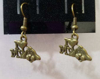 Antique Gold I love My Dog Fish Hook Earrings