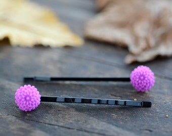 Purple Chrysanthemum Bobby Pins (2pk)