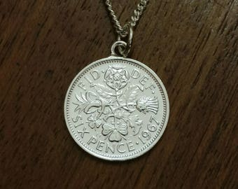 1967 Sixpence - Silver Plated Coin Necklace