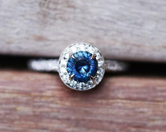 18k White Gold Blue Montana Sapphire & Diamond Halo Engagement Ring
