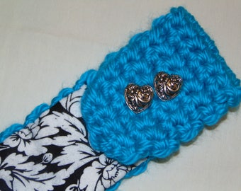 "flannel lined , adjustable earwarmer, ""Turquoise Floral"" design"