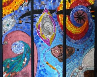 Painting mosaic in glass enamels - Céleste Energie.