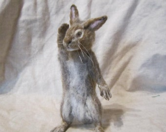 Bunny needle felted realistic sculpture needle felted realistic figurine toy animals