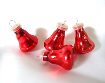 4 Vintage Christmas Ornament, Small Red Bells, Feather Tree Ornaments