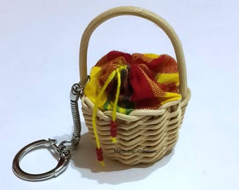 Key basket rattan madras