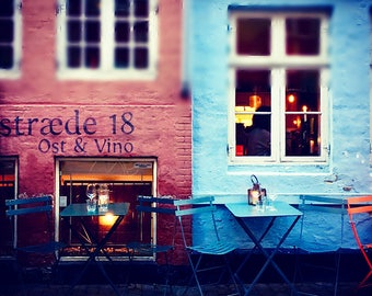 Cosy Copenhagen Street Cafe, Art Print, Hygge, Fine Art Print - 'Hygge Kobenhavn'