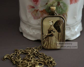 Petite Pendant Necklace, Butterfly Art, Victorian Woman, Slightly Imperfect, frighten