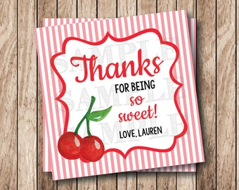Printable Cherries Thank You for Being So Sweet Tags, Printable Sweet Cherries Tags, Printable So Sweet Thank You Tags