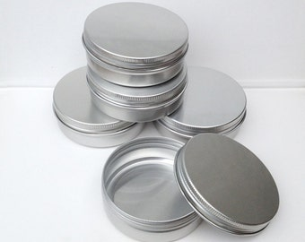 Small Metal Tins, Blank Round Silver Color, 100ml Screw Lidded, Aluminium Tins