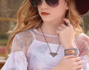Ensemble de nom de bijoux - bijoux ardoise - cuivre anniversaire pour ses bijoux - cadeau de bijoux uniques - Shabby Chic - cadeau personnalisé pour fille